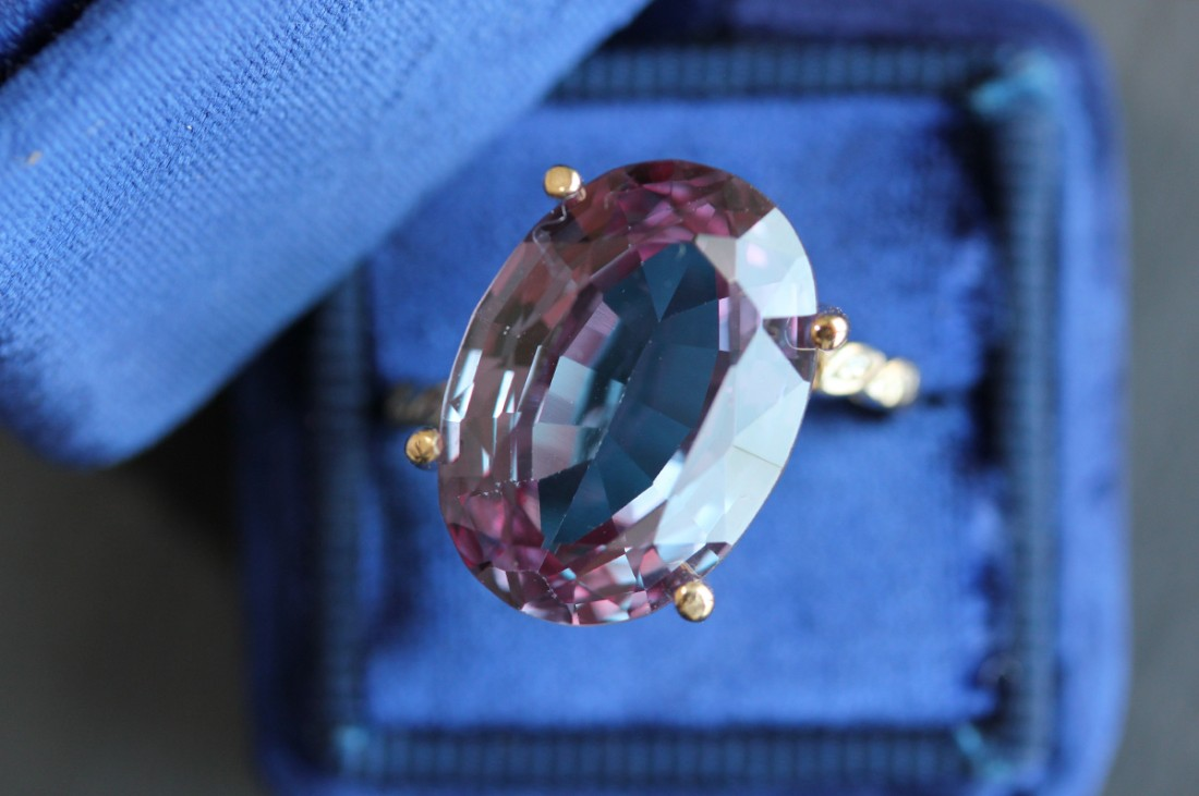 Alexandrite Ring in a Blue Case
