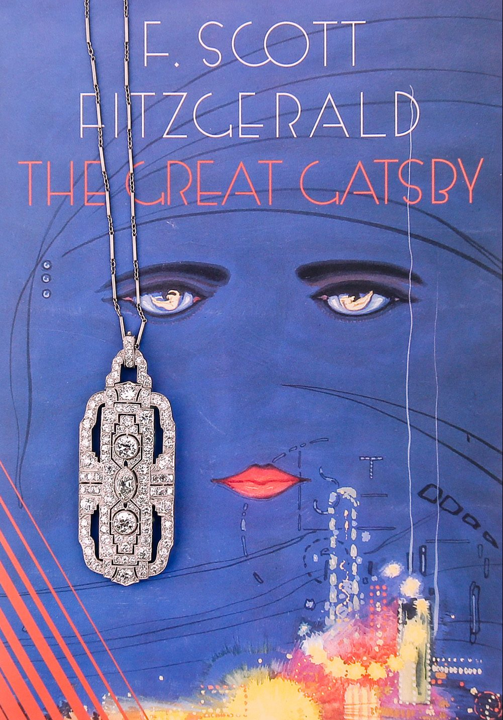 Art Deco Style Diamond Necklace on Top of F. Scott Fitzgerald's Great Gatsby Book