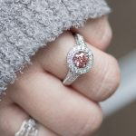 Pink Diamond Halo Engagement Ring