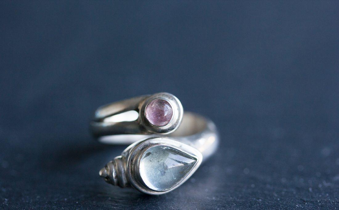 Pretty Aquamarine and Tourmaline ring