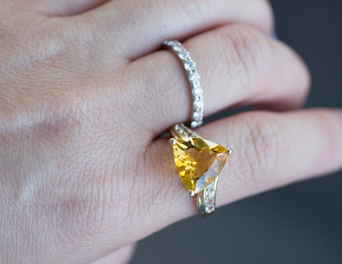 Citrine and White Sapphire bohemian beauty
