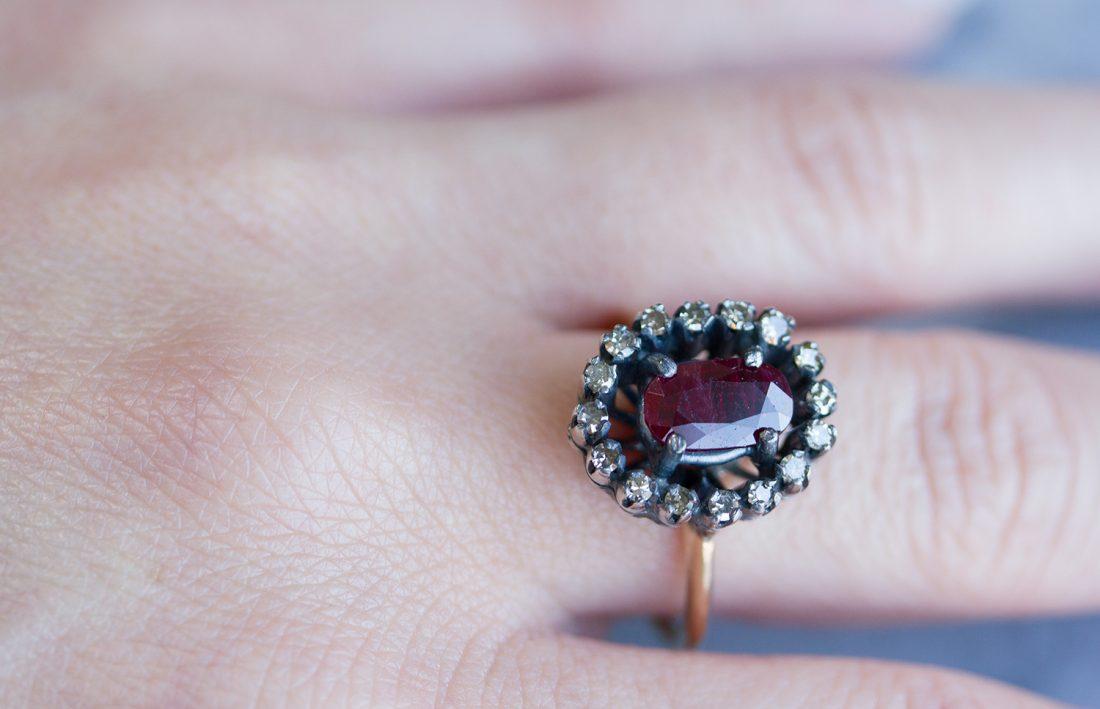Ruby + Diamond ring