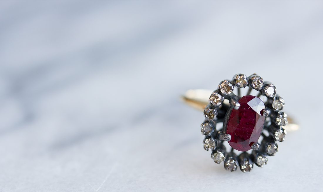 Ruby Ring with Diamonds Around It