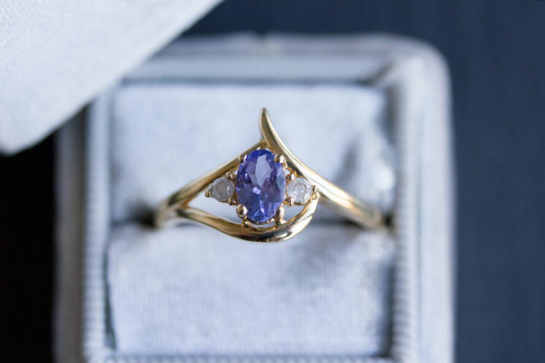Pretty Tanzanite + Diamond ring