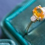 Gorgeous Orange Sapphire and Diamond Ring