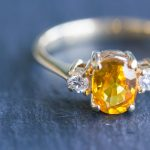 Gorgeous Orange Sapphire and Diamond Ring