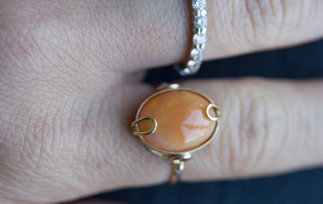 SOLD – Grabbing Fire Opal Ring