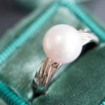 One of a kind, 14K white gold + Pearl ring