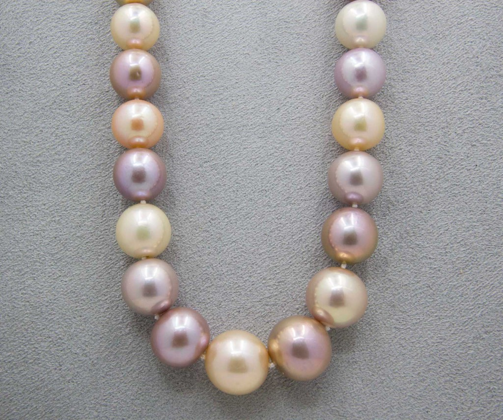 Pink, Lavender, and White Colored Pearl Necklace