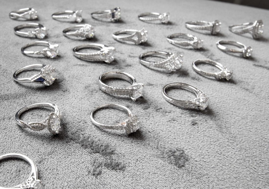 Group of Diamond Engagement Rings on Display