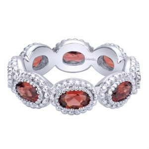 Gabriel & Co Sterling Silver Oval Garnet Infinity Stackable Ring