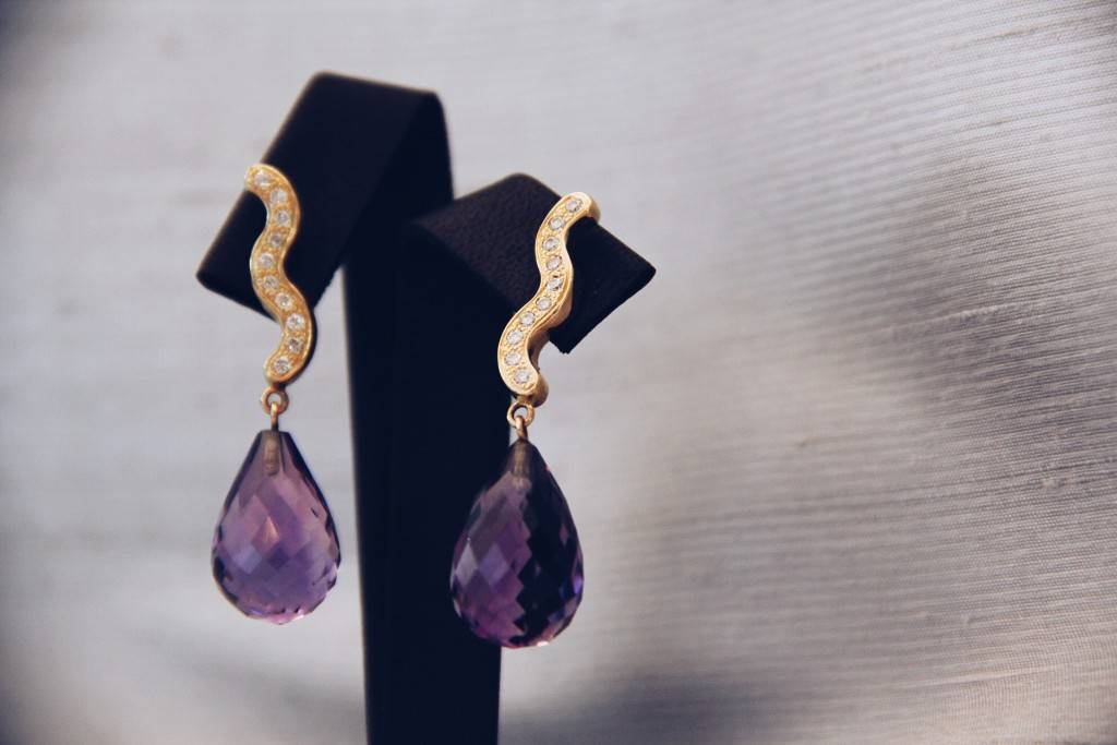 Amethyst Gemstone Gold Earrings