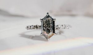 Hexagon Cut Salt and Pepper Diamond in Engagement Ring
