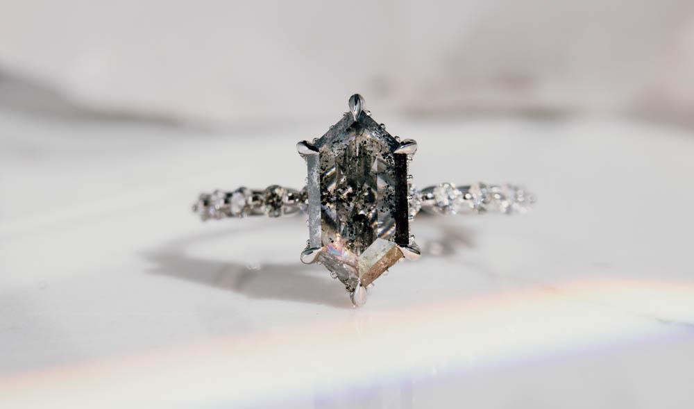 Hexagon Cut Salt and Pepper Diamond in Engagement Ring